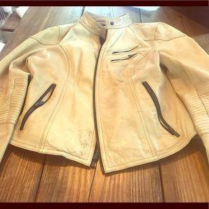 Cute Black Rivet Tan Leather Jacket- Light Waist